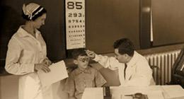 Pediatric eye examination at Mt. Sinai Hospital in 1933