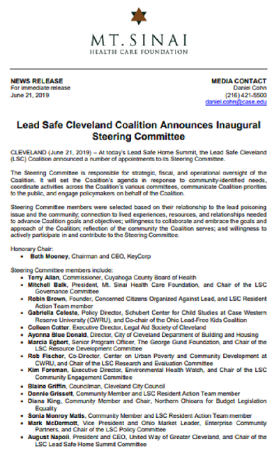 Steering Committee Announcement
