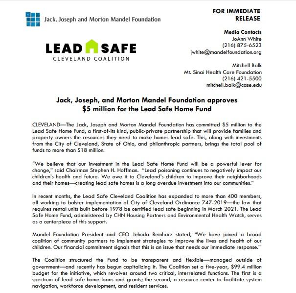 Mandel Press Release